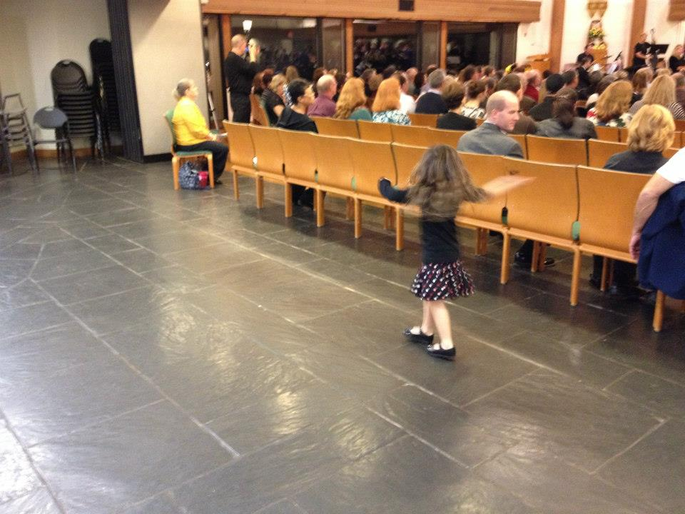 Dancing at a VCS concert, because she can.