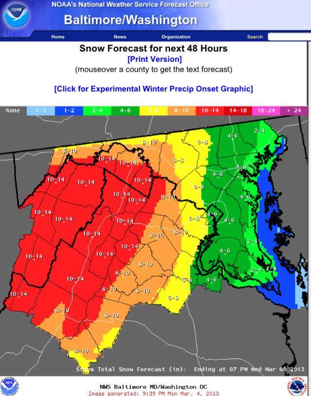 Snowquester NOAA forecast