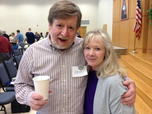 Kevin Warner (board member, bass) with Cynthia Cadden (former board member, current soprano section leader) at the joint rehearsal 4/15/2013