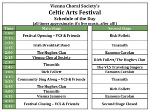 Vienna Choral Society's Celtic Arts Festival Schedule, March 17, 2012