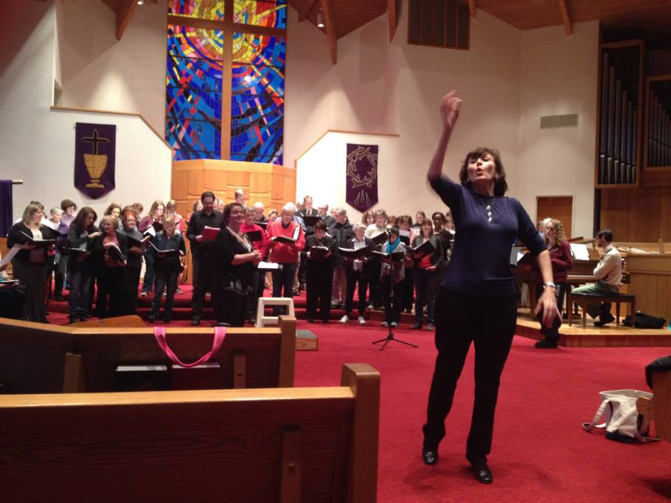 "Ms. Haberland asks the kids to ""give her an ooooh!"" during warm-up of our Lullabies/March 2014 concert"