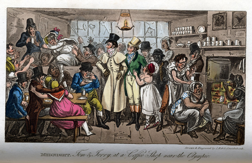 "Robert and George Cruikshank, ""MIDNIGHT. Tom & Jerry at a Coffee Shop near the Olympic,"" Life in London; or, the Day and Night Scenes of Jerry Hawthorn, Esq., and his Elegant Friend Corinthian Tom, Accompanied by Bob Logic, the Oxonian, in their Rambles and Sprees through the Metropolis (London, 1820-21). Courtesy of The Ohio State University Rare Books and Manuscripts Library."