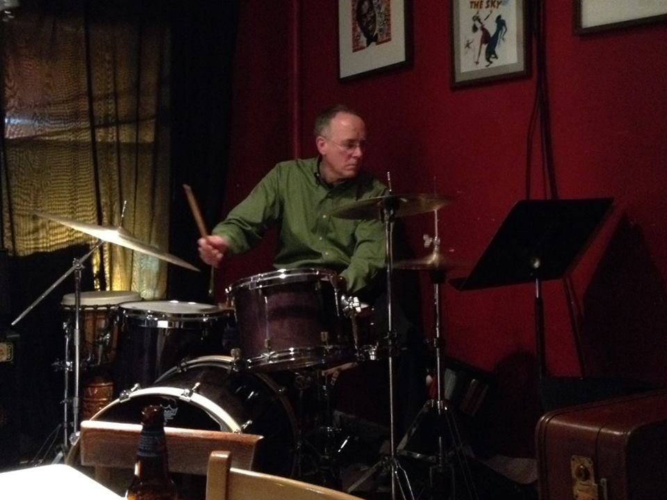 Mike Wingo, with drums, but no spears. (There's a pencil there somewhere.)